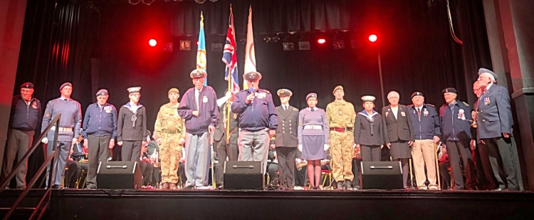 The Armed Forces Support Group with the Cadets, on stage at Colne Municipal Hall