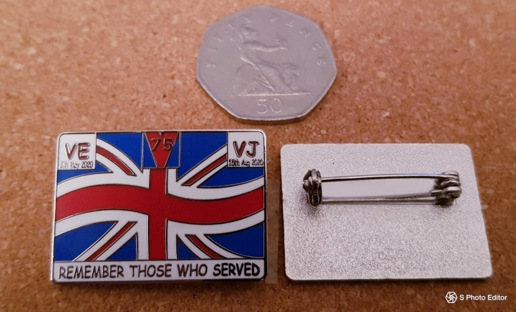 The badges were created by the Armed Forces Support Group for VE and VJ Day